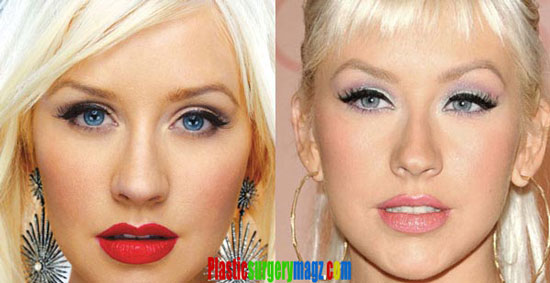 Christina Aguilera Nose Then and Now